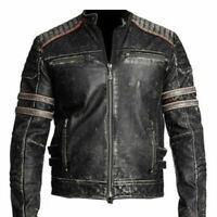 Mens Biker Vintage Motorcycle Cafe Racer Retro Black Distressed Leather Jacket