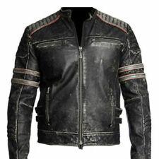 Para Hombre Biker Vintage Moto Cafe Racer Retro Negro Chaqueta De Cuero Envejecido