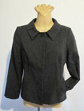 JACKET Dark Grey Short Fitted COAT Veronika Maine Designer Wool mix Work Classic