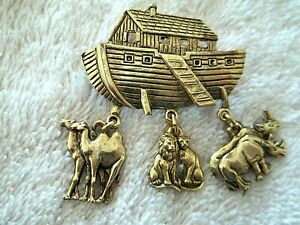Noah's Ark Pin With Charms, Gold Tone Metal, Nicely Detailed