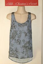 EYESHADOW ~Blue Floral/Antique Pewter Beaded Racer Back Blouse Top Sz L *VG-XLNT