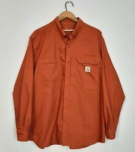 Carhartt Force Mens XL Relaxed Fit Button Front Roll Up Sleeves Vented Shirt