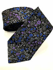 Paul Smith Tie 8cm Black with Multicoloured Floral Tie 100% Silk Made in Italy