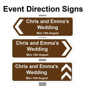 Large Personalised Wedding Direction Sign, Road Sign names, event & date. Correx