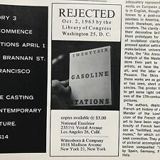 "1964 Artforum with Ed Ruscha's ""Rejected"" ad for Twentysix Gasoline Stations."