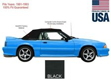 NEW Ford mustang Convertible Soft Top With Glass Window 1991-1993 Black Vinyl