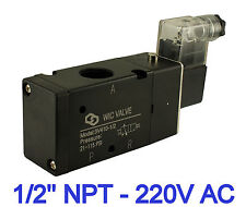 "3 Way Air Directional Control Electric Solenoid Valve 1/2"" Inch 220V AC"