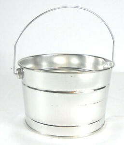 "3 Pc Set 7"" Wide X 5"" Tall Galvanized Pail with Handle 2 Quart Buck25"