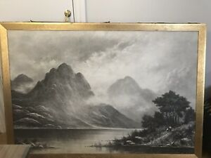 Antique Charcoal Landscape Drawing 18th 19th Century