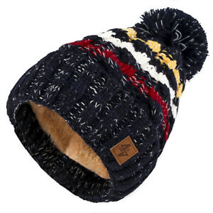 Mens Womens Knitted Bobble Hat,Scarf Beanie Women Warm Winter Fleece Lining Ski
