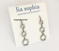 """Lia Sophia """"Triptych"""" Matte Silver Tone Earrings - RARE"""