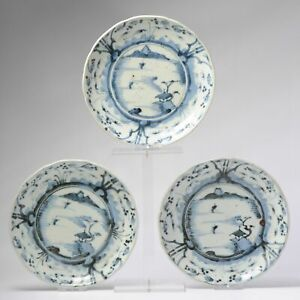 Set #3 Antique Japanese Edo Period Porcelain Arita Plates 18th c Japan