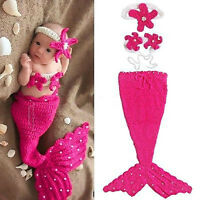 Infant Baby Girl Newborn Mermaid Crochet Outfit Dress Photo Props Hat Cos Gift
