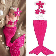 Infant Baby Girls Newborn Mermaid Crochet Outfit Dress Photo Prop Hat Costume