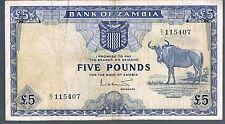ZAMBIA BANKNOTE 5 P3 1964 GVF