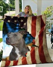 Independence Day Pitbull American Flag Fleece Blanket