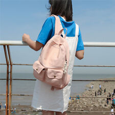 Korean Style Outer Two Pockets Solid Color Students Teen Canvas Backpack 2020