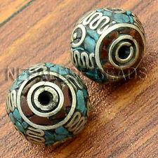 BDS135 Tibetan Nepalese Artisan Handmade White Metal Turquoise Coral 2 Beads