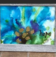 """Alcohol Ink Original Art Painting HOPE 5X7"""" Blues Greens Abstract Floral FRAMED"""