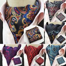 2017 new LJT13 Floral Plaid Paisley Men Silk Cravat Ascot Tie Set & Handkerchief