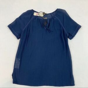 Tommy Bahama New Women's XXS lace trim tie neck blouse navy blue