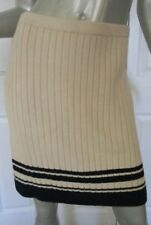 TORY BURCH Champagne Beige Knit Skirt Navy Stripes Size Small New