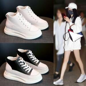 Womens High Top Hidden Heels Ankle Boots Casual Lace Up Sneakers Fashion Shoe C5