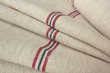 Grain sack grainsack fabric vintage linen upholstery Hemp Red + Blue blue 9.25