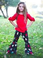 Girls, Toddler Polka Dot Tree Bell Bottom Boutique Cute Outfit 2T 3T 4T 5 6 7 8