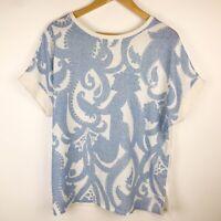 Zara Blue & Ivory Linen Blend Oversize Boxy Summer Top Size L VGC