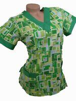 New Women Nursing Scrub Green Cotton Top Size XS, S, L, XL