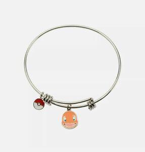Pokemon Charmander & Poke Ball Charm Stainless Steel Expandable Bracelet