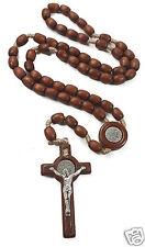 "ST Benedict Rosary Necklace Medal 19"" NR Brown Wood Beads INRI Cross Jerusalem"