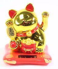 Medium Gold Beckoning Fortune Happy Cat Maneki Neko Solar Toy Home Decor Gift