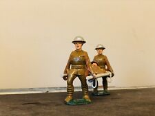 Old 4 Pc Lead Army Military Set -Stretcher +Wounded +2 Soldiers Carrying BARCLAY