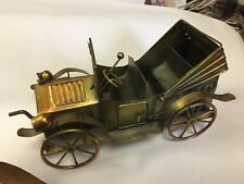 Vintage Brass Sculpture Car Music Box Wind Up nice rare with back seat