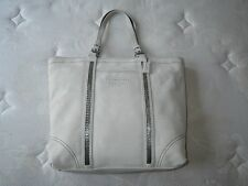 NWT COACH LG FINEST IVORY SUEDE LEATHER BEADED GALLERY TOTE BAG PURSE RARE+WOW!