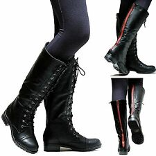 New Women GMv1 Black Red Zipper Combat Military Knee High Riding Boots 5.5 to 10