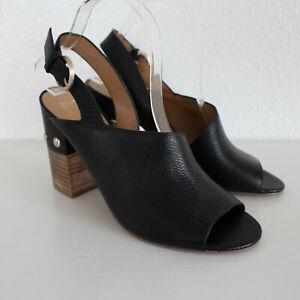 Marc Fisher Black Leather Peep Toe Sandals Studded Detail Block Heel - Size 8.5