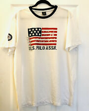 US Polo ASSN Women's XL Short Sleeve American Flag Pullover White T Shirt Cotton