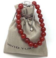 David Yurman Red Carnelian & Sterling Silver Spiritual bead Bracelet Adjustable