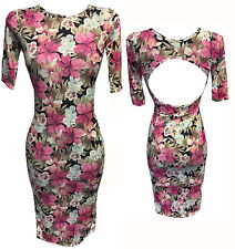 OPEN BACK PINK BLACK WHITE FLORAL PRINT BODYCON STRETCH FITTED DRESS 3/4 SLEEVES