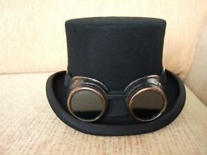 GOTH TOP HAT AND GOGGLES. WHITBY GOTH WEEKEND SIZE L ABOUT 59cm
