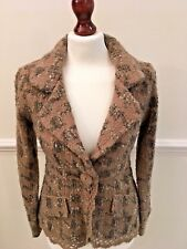 MONSOON LADIES BEIGE FITTED WOOL MIX JACKET WITH SINGLE BUTTON FASTENING - 10