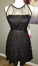 Adrianna Papell Sleeveless Chiffon Petal Party Dress! NWT Size 10 Black!