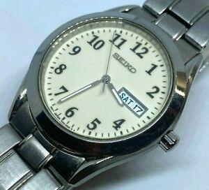 Seiko 7N43-9070 Mens Silver Steel Luminous Analog Quartz Watch Hours~New Battery