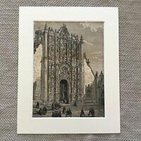 1865 Stampa South American Cathedral Chiesa Architettonico Antico Originale