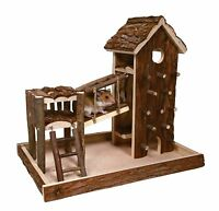 Birger Playground Natural Wood with House Climbing Wall Gerbils Mice Hamsters