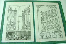 2 gravures originales XVIII s. FERRONERIES GRILLES