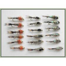 Taglia 10 Nero /& Olive pesca Mosche TROTE Mosche confezione da 18 testa d/'oro Flash donzelle